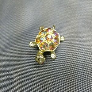 Vintage Turtle and Gem Stone Pin